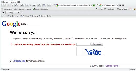 Screen shot of Google error message
