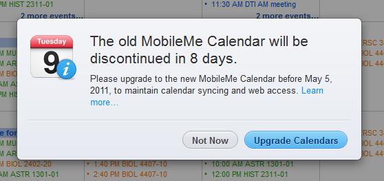 Calendar upgrade is mandatory May 5, 2011